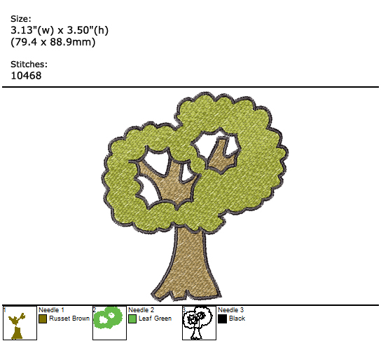 Tree custom embroidery design
