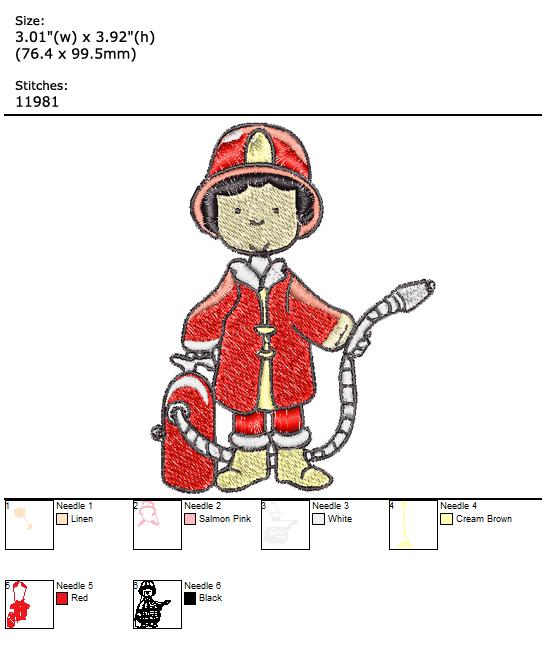 Firemen Team custom embroidery design