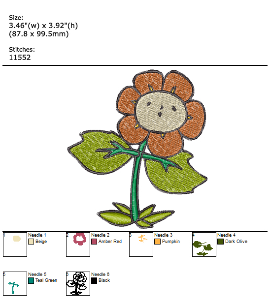 Dancing Flower custom embroidery design