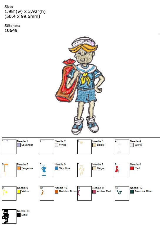 Sailor Boy custom embroidery design