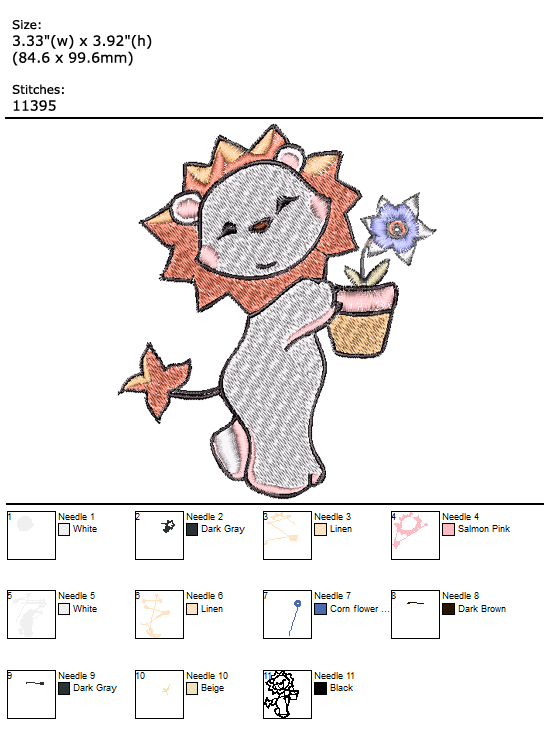Lion custom embroidery design