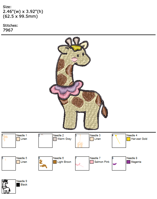 Giraffe custom embroidery design