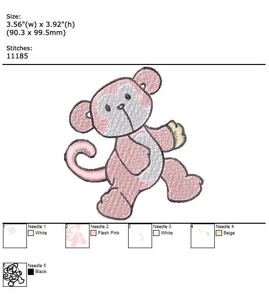 Monkey custom embroidery design