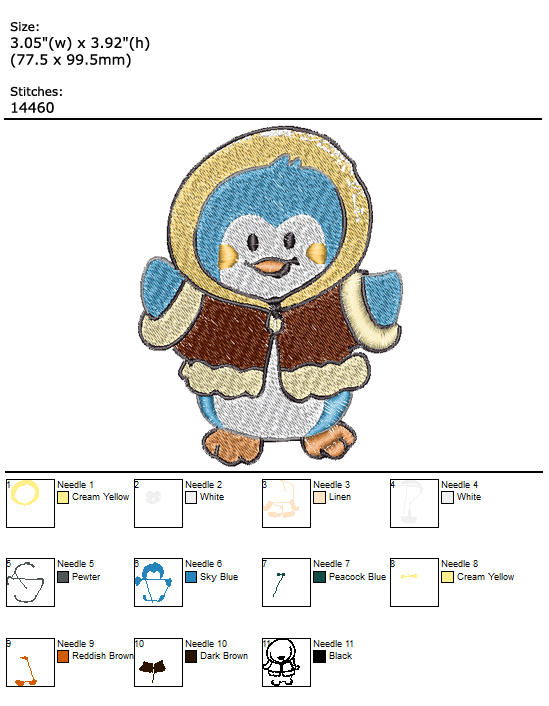 Penguin custom embroidery design