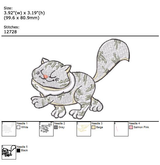 Cute Kitty custom embroidery design