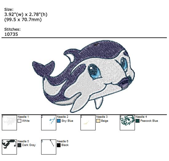 Baby Dolphin custom embroidery design
