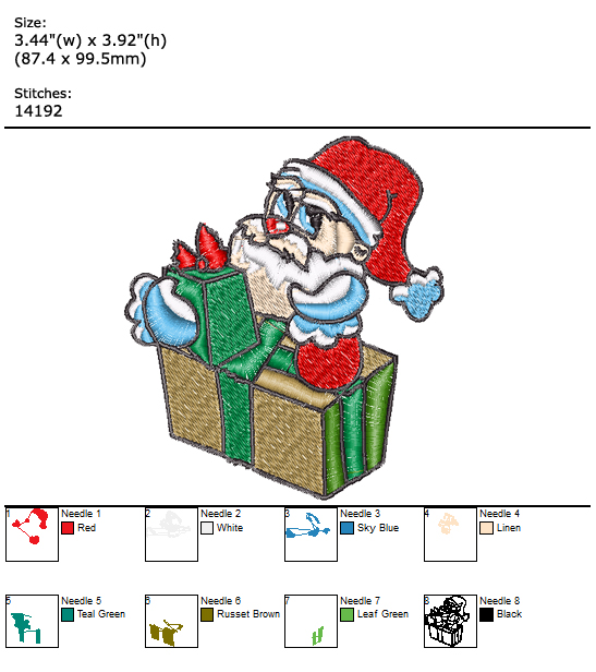 Santa custom embroidery design