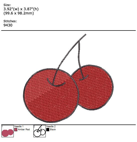 Cherry custom embroidery design