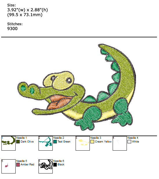 Little Crocodile custom embroidery design