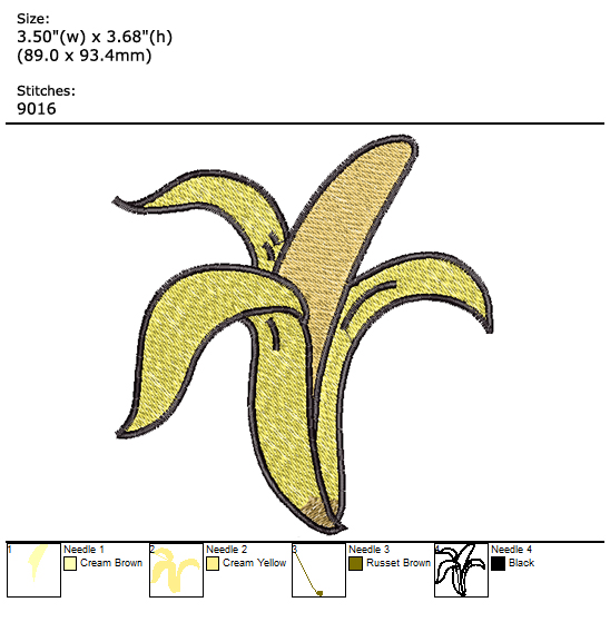 Banana custom embroidery design