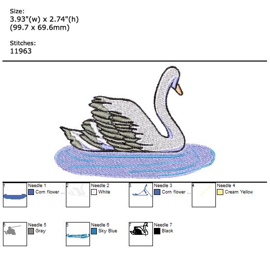 Swan custom embroidery design