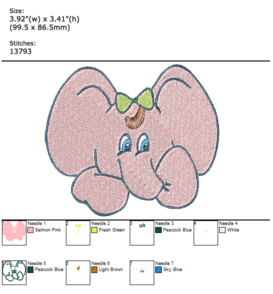 Elephant custom embroidery design
